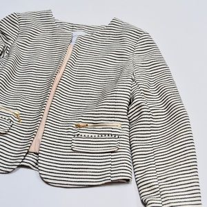 Katherine Barclay Jackets & Coats - Katherine Barclay White Black Striped Blazer Sz S